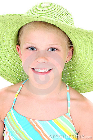 Beautiful Young Girl In Green Beach Hat