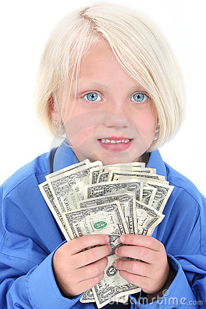 Beautiful Young Girl With Handful Of Money