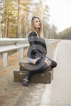Free Beautiful Young Girl Hitchhiking Stock Photography - 82533492