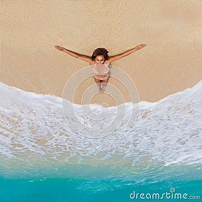 Free Beautiful Young Girl In Bikini On A Tropical Beach. Blue Sea In Stock Image - 58380161