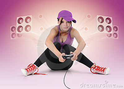Beautiful young girl with joystick