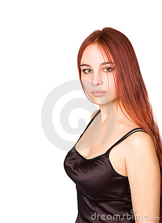 Beautiful young girl with red hair