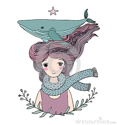 Free Beautiful Young Girl Sailor With A Whale In Her Hair. Sea Animals. Stock Images - 83082024