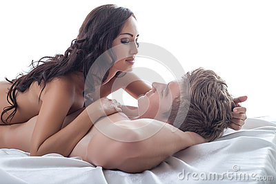 Beautiful young girl tenderly looks at her lover