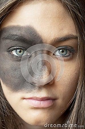 Beautiful young girl with vogue makeup