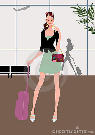 Beautiful young girl (woman) travel with luggage