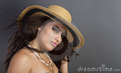 Beautiful Young Hispanic Woman Wearing Straw Hat