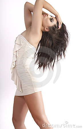 Beautiful Young Hispanic Woman Wearing White Dress