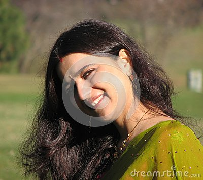 Beautiful Young Indian Married woman smiling