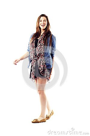 Beautiful young lady with amazing smile laughing