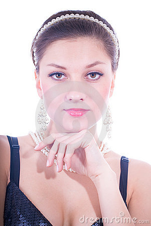 Beautiful young lady & pearls jewelry isolated