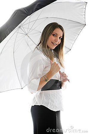 Beautiful Young Lady Under an Umbrella