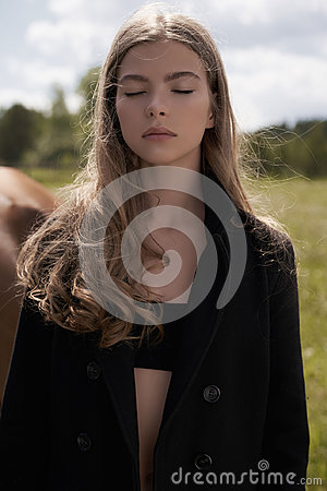 Free Beautiful Young Lady With Horse Royalty Free Stock Photography - 96984087