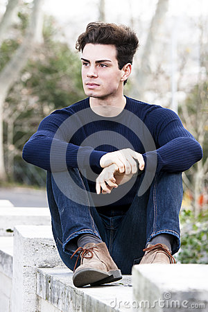 Free Beautiful Young Man Model, Trendy Outfit Hairstyle Stock Photos - 44107813