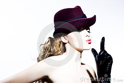 Beautiful young model in hat
