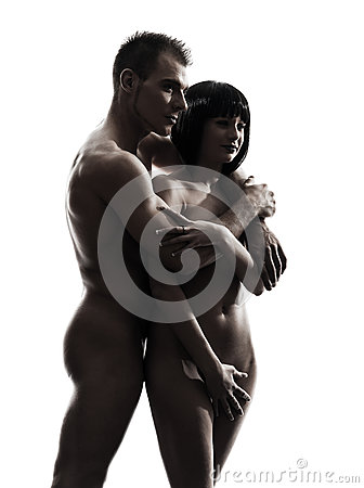 Beautiful young naked couple portrait silhouette