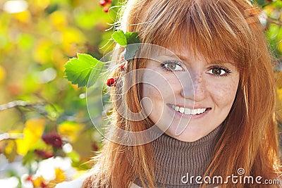 Beautiful young redhead teenager woman