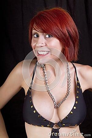 Beautiful young redhead woman having fun