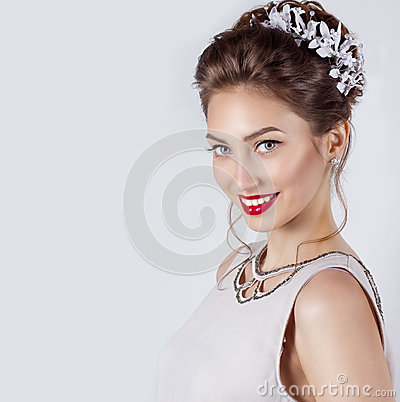 Free Beautiful Young Sexy Elegant Happy Smiling Woman With Red Lips, Beautiful Stylish Hairstyle With White Flowers In Her Hair Stock Image - 51536481