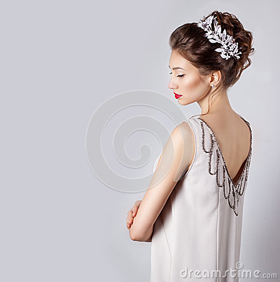 Free Beautiful Young Sexy Elegant Happy Smiling Woman With Red Lips, Beautiful Stylish Hairstyle With White Flowers In Her Hair Stock Image - 51536751