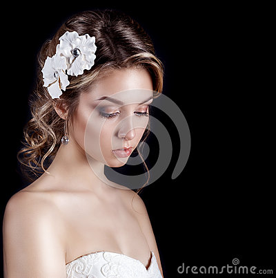 Free Beautiful Young Sexy Elegant Happy Smiling Woman With Red Lips, Beautiful Stylish Hairstyle With White Flowers In Her Hair Royalty Free Stock Image - 51795526