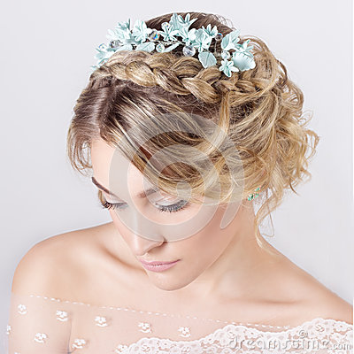 Free Beautiful Young Sexy Elegant Sweet Girl In The Image Of A Bride With Hair And Flowers In Her Hair , Delicate Wedding Makeup Stock Photo - 52680240