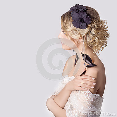 Free Beautiful Young Sexy Elegant Sweet Girl In The Image Of A Bride With Hair And Flowers In Her Hair, Delicate Wedding Makeup Royalty Free Stock Image - 52680246