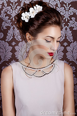 Free Beautiful Young Sexy Sweet Girl With Large Red Lips In Wedding White Wreath On The Head  Stock Photos - 51334553