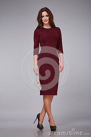 Free Beautiful Young Sexy Woman Lady Stylish Elegant Fashionable Dress, Makeup And Hair Style For The Evening Business Meeting Walk Dat Royalty Free Stock Photography - 67989647