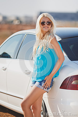 Beautiful Young Sexy Woman Near A Car Outdoor Stock Photo