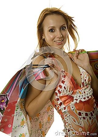 Beautiful young shopping girl