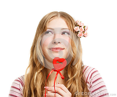 Beautiful young smiling woman in thoughtful pose with red valent