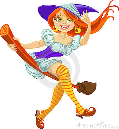 Beautiful young witch on a broomstick in the air