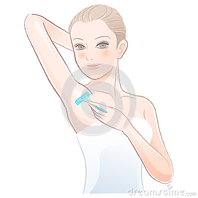 Beautiful young woman    applying razor to the shaving armpit