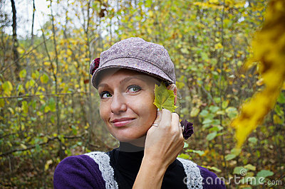 Beautiful Young Woman In Autumn Forest Royalty Free Stock Image - Image: 21572896