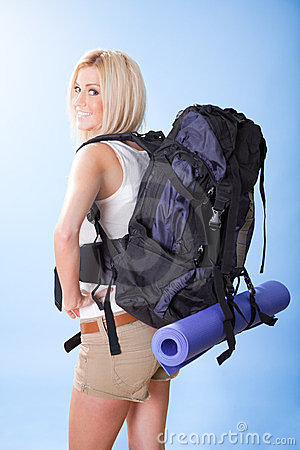 Beautiful young woman with backpack