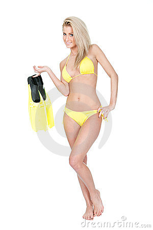 Beautiful young woman in bikini with snorkel