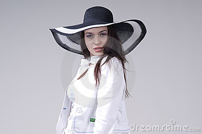 Beautiful young woman in black soiled Stock Photo