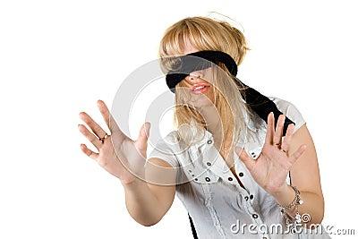 Beautiful young woman blindfold
