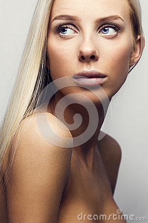 Portrait Of A Casual Blonde Woman In White Top Stock Photo - Image ...