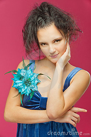 Beautiful young woman in a blue