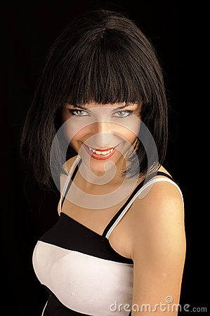 Beautiful young woman with bob hairstyle