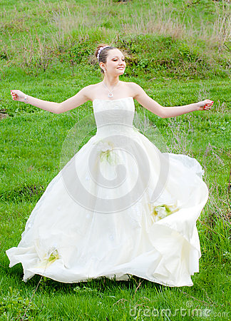 Beautiful young woman Bride to be outdoors