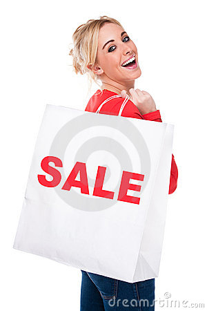 Beautiful Young Woman Carrying Sale Shopping Bag