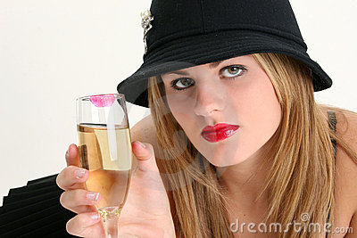 Beautiful Young Woman with Champagne Glass