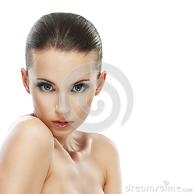 Beautiful young woman close up