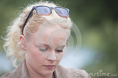 Beautiful young woman closed eyes