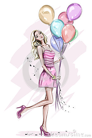 Beautiful young woman with colorful birthday balloons. Vector Illustration