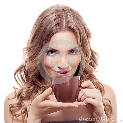Beautiful young woman with cup of coffee, isolated