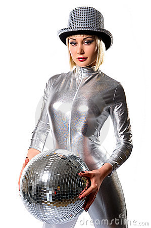 Beautiful young woman with a disco ball